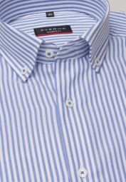 ETERNA LANGARM HEMD MODERN FIT OXFORD HELLLBLAU/WEISS GESTREIFT