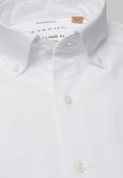 ETERNA LANGARM HEMD REGULAR FIT UPCYCLING SHIRT OXFORD WEISS UNIFARBEN