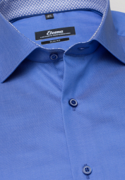 ETERNA LANGARM HEMD SLIM FIT GENTLE SHIRT TWILL BLAU UNIFARBEN