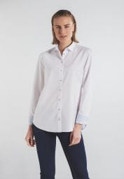 ETERNA LANGARM BLUSE MODERN CLASSIC UPCYCLING SHIRT OXFORD WEISS UNIFARBEN