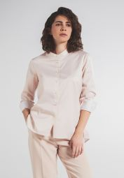 LANGARM BLUSE 1863 BY ETERNA - PREMIUM CASUAL LUXURY TWILL BEIGE UNIFARBEN