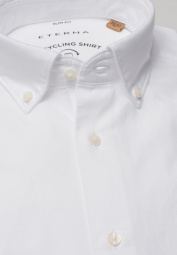 ETERNA LANGARM HEMD SLIM FIT UPCYCLING SHIRT OXFORD WEISS UNIFARBEN