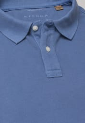 ETERNA KURZARM POLOSHIRT REGULAR FIT UPCYCLING SHIRT PIQUÉ RAUCHBLAU UNIFARBEN