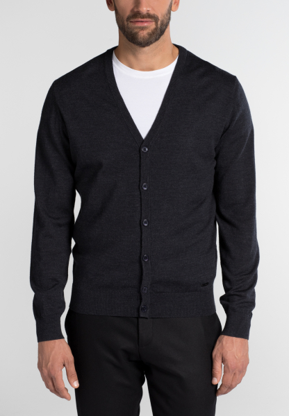 ETERNA STRICK CARDIGAN ANTHRAZIT UNIFARBEN