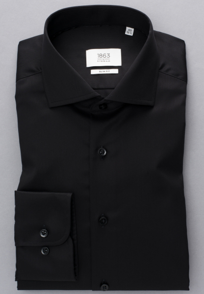 ETERNA LANGARM HEMD SLIM FIT GENTLE SHIRT TWILL SCHWARZ UNIFARBEN