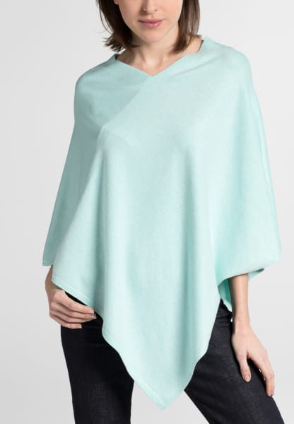 ETERNA STRICK PONCHO POWDER MINT UNIFARBEN